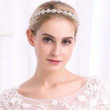 Miallo Wedding Tiara Bridal Rhinestone Pearl Jewerly Women Girls Hairband Hair Clip Hair Loop Headwear Accessories Pearl Jewelry