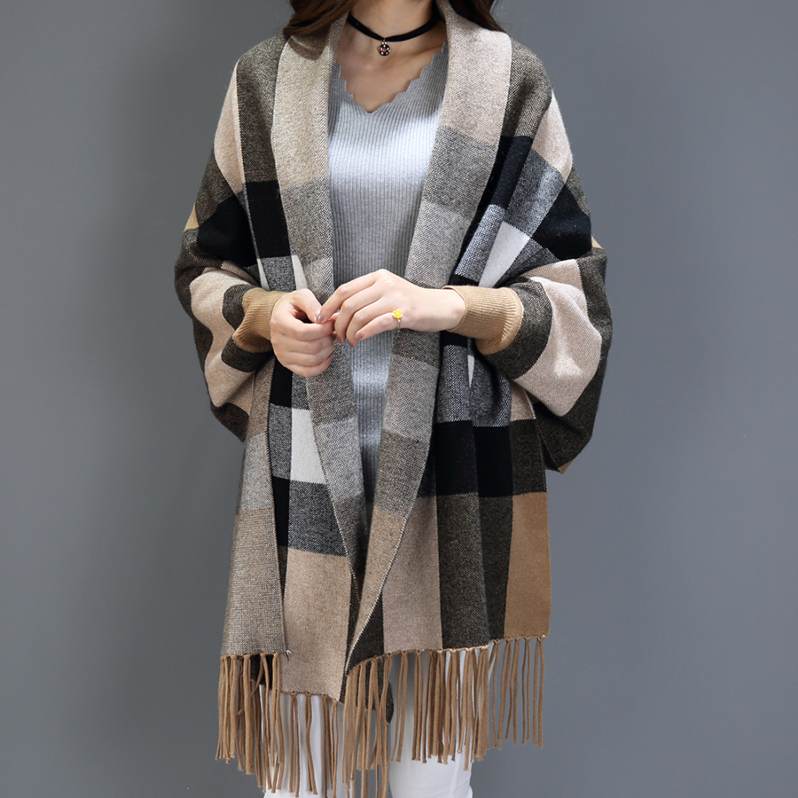 Women's Clothing Women Sexy Plus Size Autumn Striped Stitching Tassel Pullover Cashmere Shawl Female Tops Latest Technology