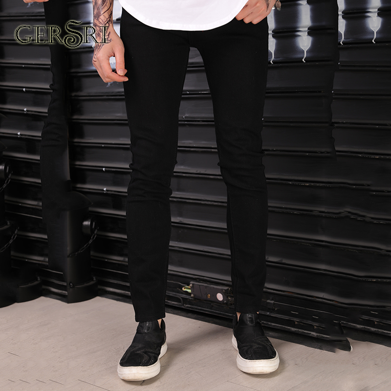 e9ea880a4da Gersri Fashion Mid Waist Cross Pants New Men Jeans Solid Ripped Distresses  Washed Pants Slim Cotton