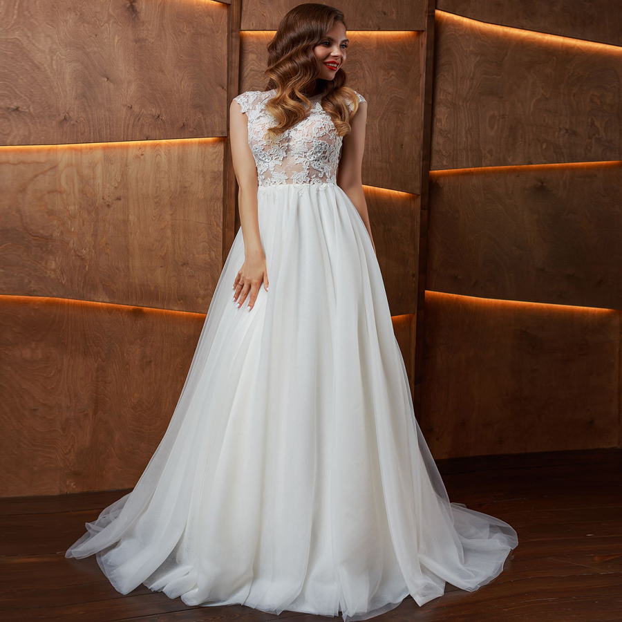 US $91.13 38% OFF Eightale Plus Size Wedding Dresses 2019 Appliques Tulle  Lace Top Cap Sleeve Pearls Buttons Boho Bridal Dress Beach Wedding Gowns-in  ...
