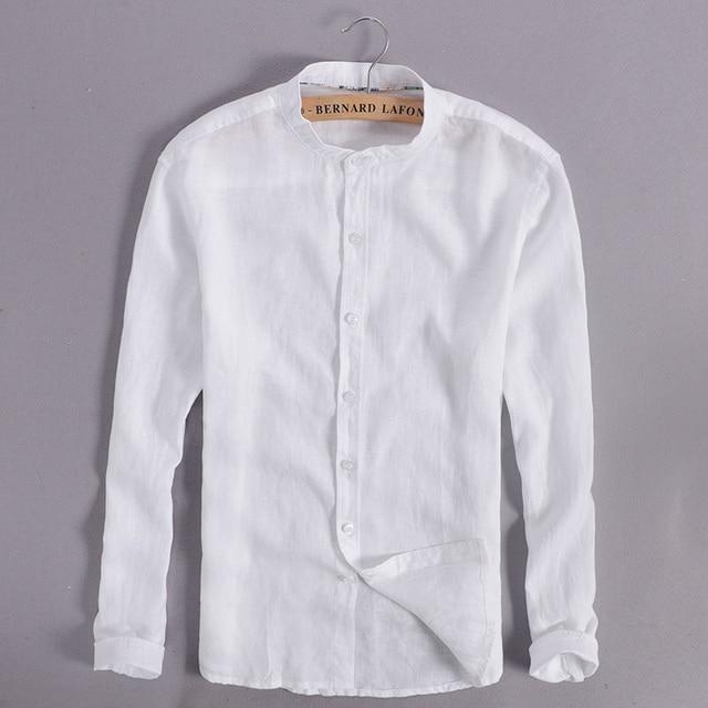 Linnen Overhemd Heren Lange Mouw.100 Linnen Wit Overhemd Mannen Casual Lange Mouw Mannen Shirts