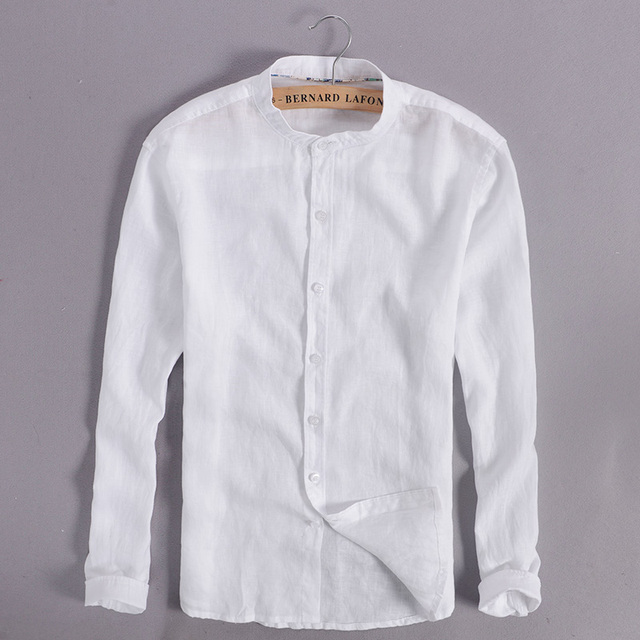 Linnen Overhemd Wit Heren.100 Linnen Wit Overhemd Mannen Casual Lange Mouw Mannen Shirts
