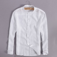 100 Linen White Shirt Men Casual Long Sleeve Men Shirts Chinese Collar Mens Shirt Fashion Slim