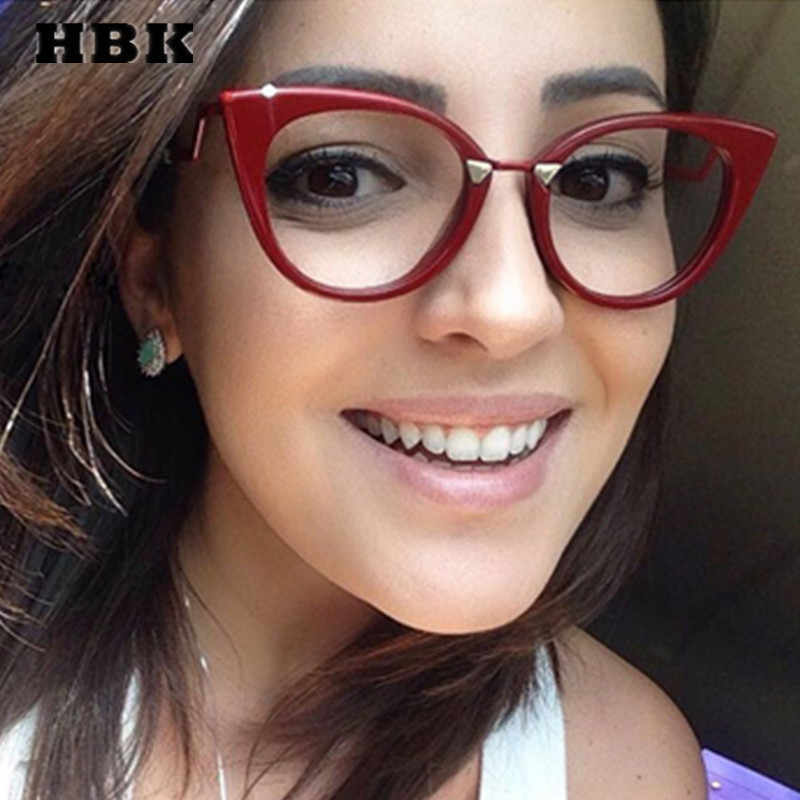 5beca700a2fc HBK Solid Cat Eye Modis Eyeglasses Frame 2019 Brand Designer Plain  Transparent Glasses For Women Men