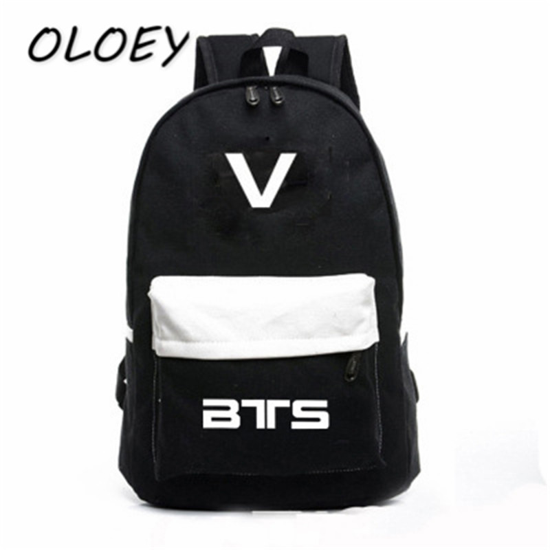 Korea Bangtan Boys Canvas Backpack BTS Patchwork Teenager Student School  Book Bag For Army Fanclub Travel Laptop Bag!-in Backpacks from Luggage    Bags on ... 1fd196061f8c4