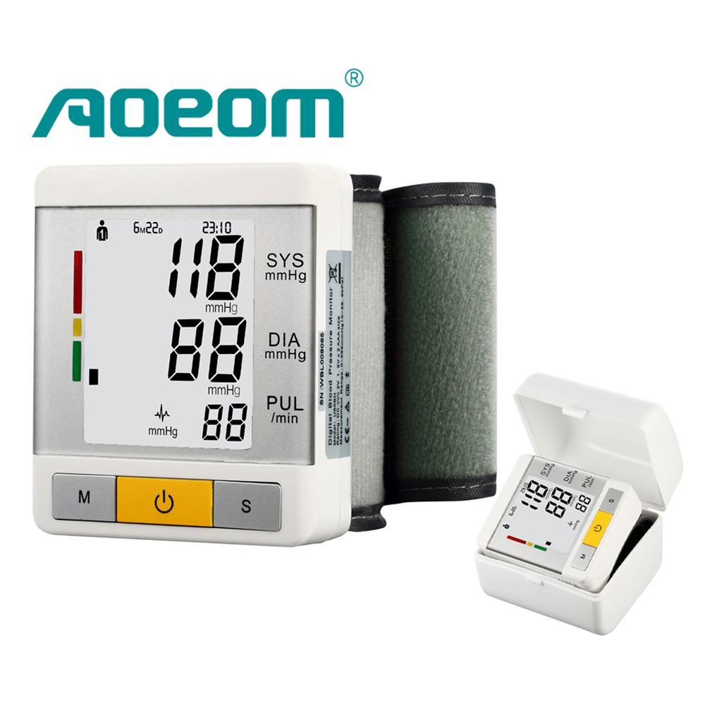 AOEOM Household Health Monitor , Portable Digital Wrist Blood Pressure Pulse Monitor Sphygmomanometer tonometer For Health Care 12