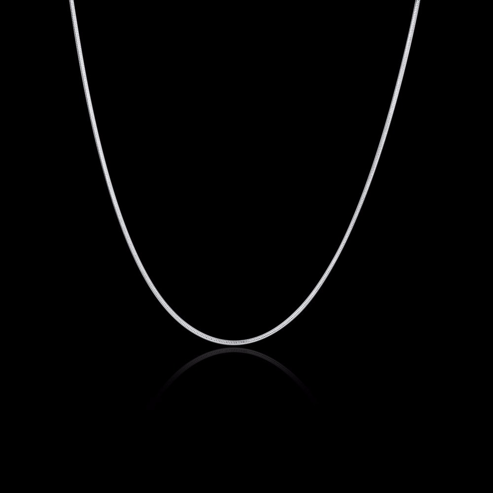 16-30inches wholesale 50pcs Charms wedding 1MM Snake chain silver color cute for women men necklace jewelry silver fashion cute