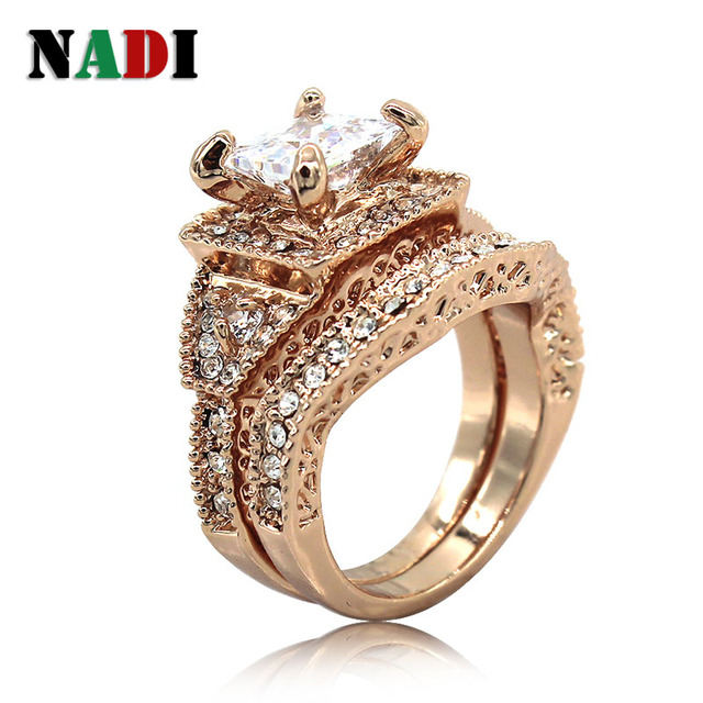2304e2d7ef2 US $12.99 |white AAA Cubic Zirconia size 6/7/8/9 Anniversary ring set rose  gold rings Zinc Alloy High quality womens ring free shipping-in Rings from  ...