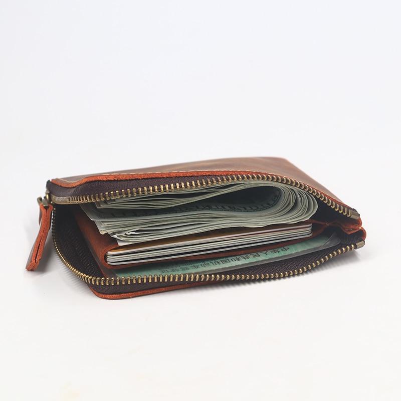 SIMLINE Äkta Crazy Horse Läder Män Plånbok Mäns Vintage Zipper - Plånböcker - Foto 6