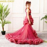 Платье принцессы для девочек с цветочным рисунком пачка Свадьба День рождения Нарядные платья для девочек Детская Подростковая Выпускной