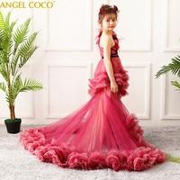 Princess Flower Girl Dress Tutu Wedding Birthday Party Dresses For Girls Children's Teenager Prom Gown Designs Robe De Soiree