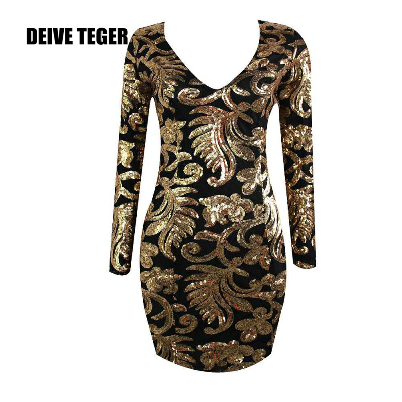DEIVE TEGER 2018 New Arrival V-Neck  Long Sleeve Gold Sequined Sexy Party Evening Short Bodycon Women Mini Dress  BY187