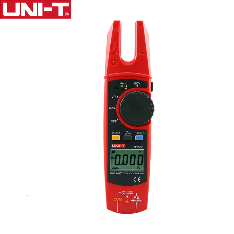 UNI-T UT256B Digital True RMS Fork Auto Multimeter 200A AC DC Current Clamp Meters NCV Tester Voltmeter Ohm Cap Auto Range More uni t ut216a auto range multimeter mini true rms digital clamp meter w ncv capacitance ac dc voltage current tongs ohm tester