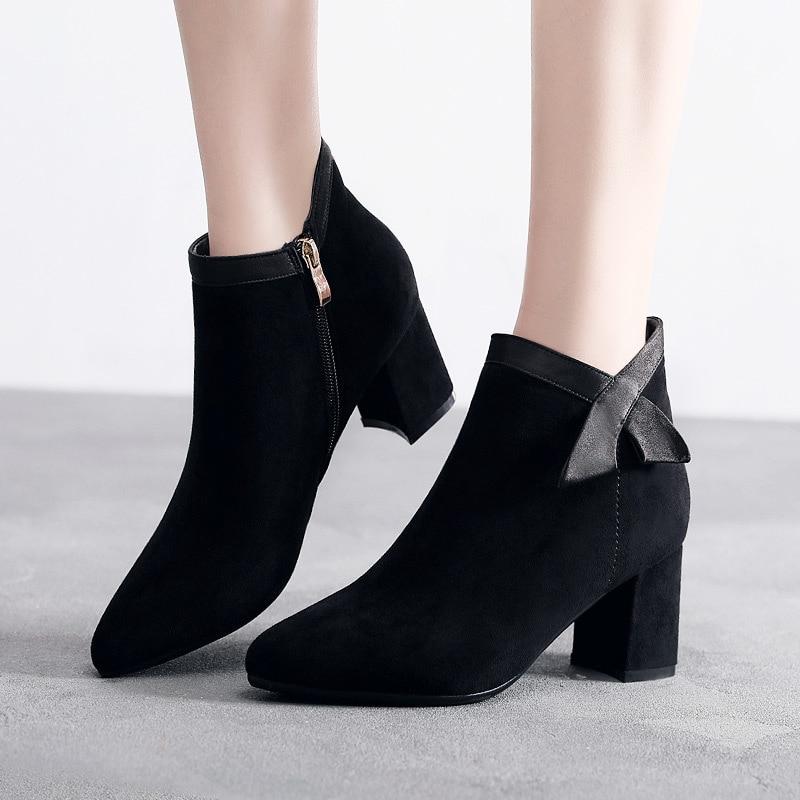 Grande taille 33-43 bloc talon Bow bottines pour femmes 2019 bout pointu Med carré talon daim bottes courtes en peluche chaud hiver chaussures