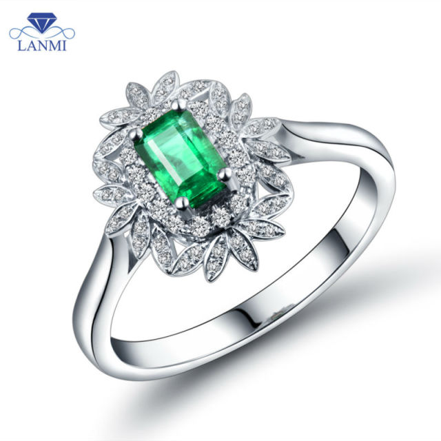 Luxury 18K White Gold Emerald Ring Emerald 4x6mm  Natural Stone Vintage Engagement Ring