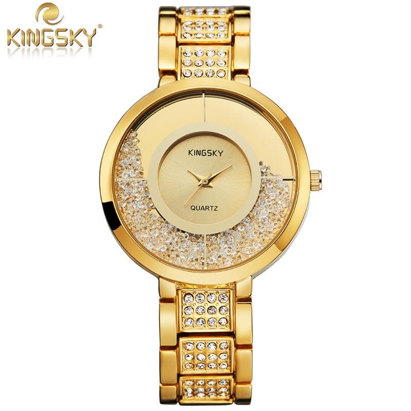 Luxury Brand KINGSKY Gold Watch Women Dress Business Alloy Bracelet Quartz Watches Diamond Crystal Ball Clock Hours Montre Femme
