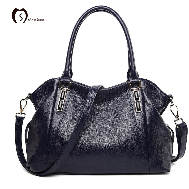 MORESHINE brand logo handbag Genuine leather women High-end shopper bag female s