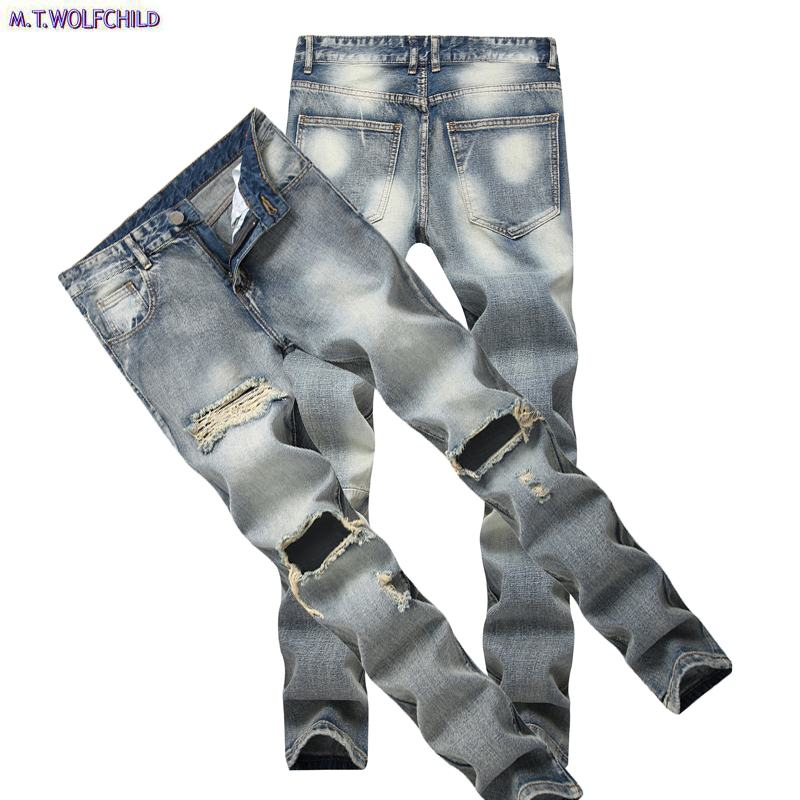 Male Jeans 2018 Mens Distressed Hole Denim Pants Casual Mens Straight Jeans Fashion Masculino Trousers 28-42