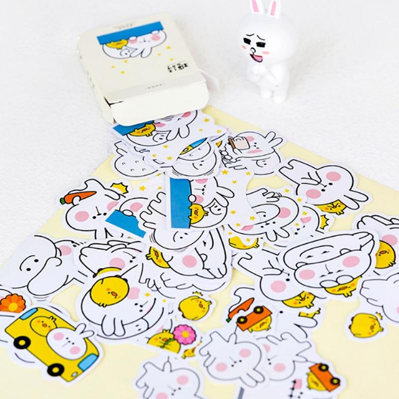 45Pcs box Creative white rabbit mini Decoration paper sticker DIY diary scrapbooking seal sticker kawaii Girl Sticker stationery in Stationery Stickers from Office School Supplies