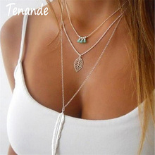 Tenande Vintage 3 Layered Chain Bohemian Seed Beads Leaves Necklaces & Pendants Big Alloy Feather Statement for Women