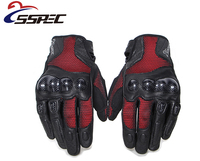 Leather Motorcycle Gloves Breathable Wearable Touch Screen Carbon Fiber Protective Gloves Guantes Luvas