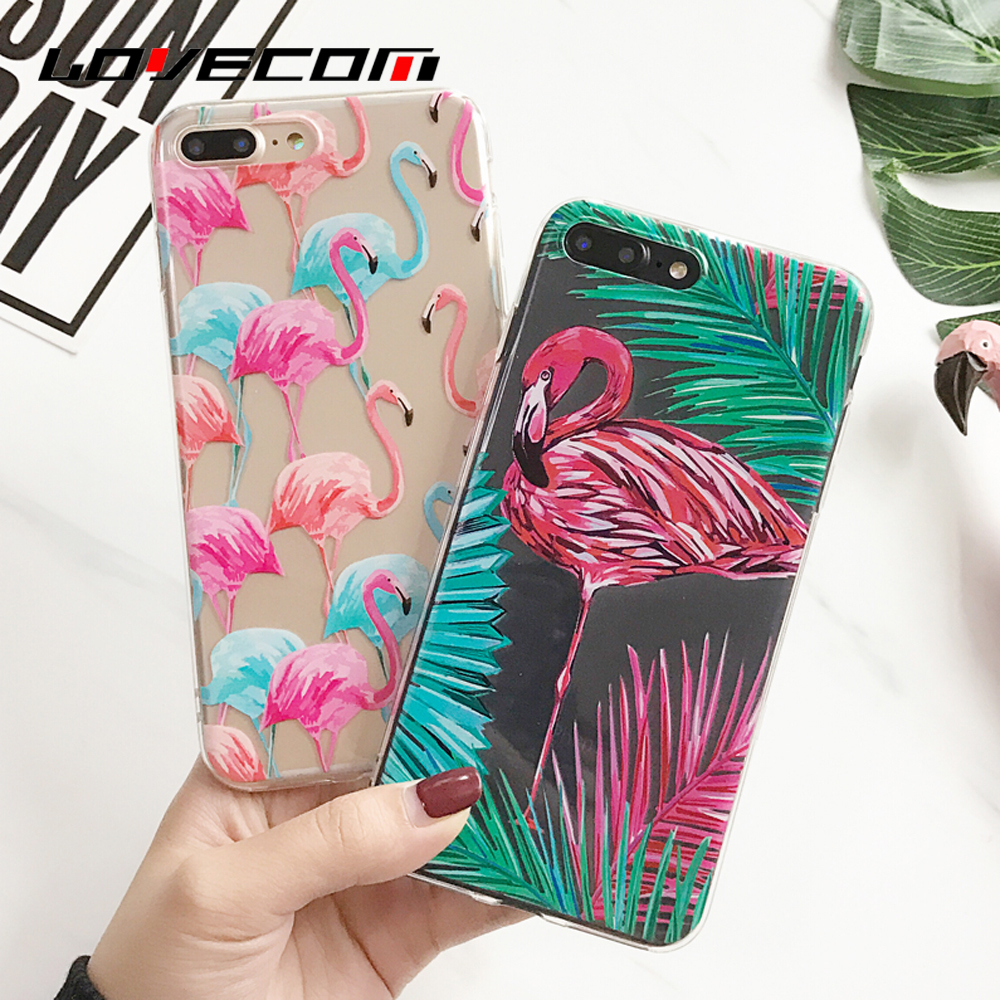 LOVECOM Animal Flamingo Phone Case Coque For IPhone 5 5S SE 6 6S 7 Plus Soft Transparent Silicon
