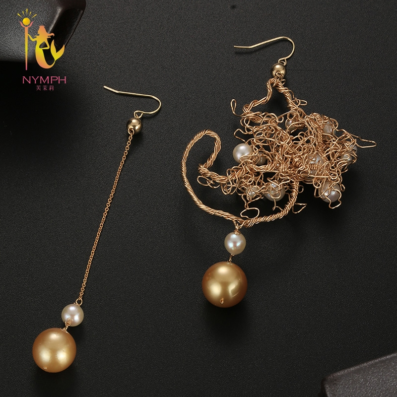 [NYMPH] Natural Pearl Drop Earrings Pearl Earrings For Women Fine Jewelry Near round Trendy Gift For Party E346 nobuer 14kgf handmade pearl drop earrings trendy women long earrings jewelry white round pearl drop earrings hanging to a party