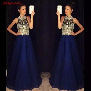 Image 4 - Vestidos de novia de talla grande con cuentas, azul marino