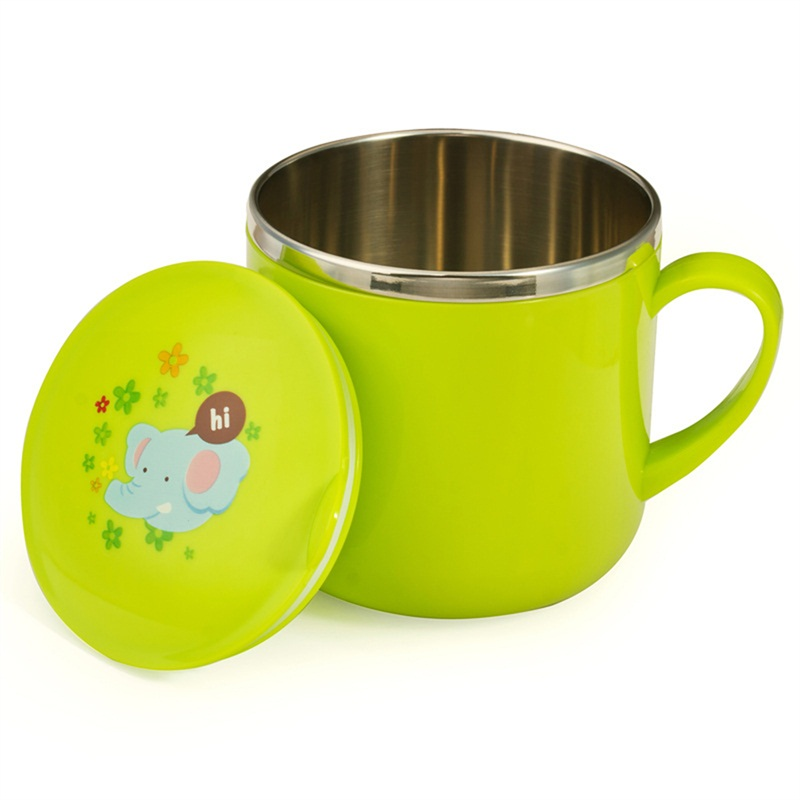 Mambobaby Baby Water Drinking Creative Design Kids Handle Cartoon Pattern Safety Stainless Steel Children Cups Trainning Drink ...