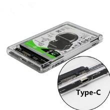 Прозрачный USB 3,1 UASP type C для Sata 3,0 HDD корпус 2,5 дюйма корпус жесткого диска