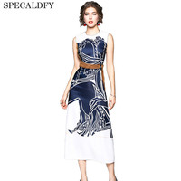 2018 Summer Dress Women Sleeveless Print Elegant Party Dresses High Quality Luxury Runway Dress Slim Waist Vestidos Robe Femme