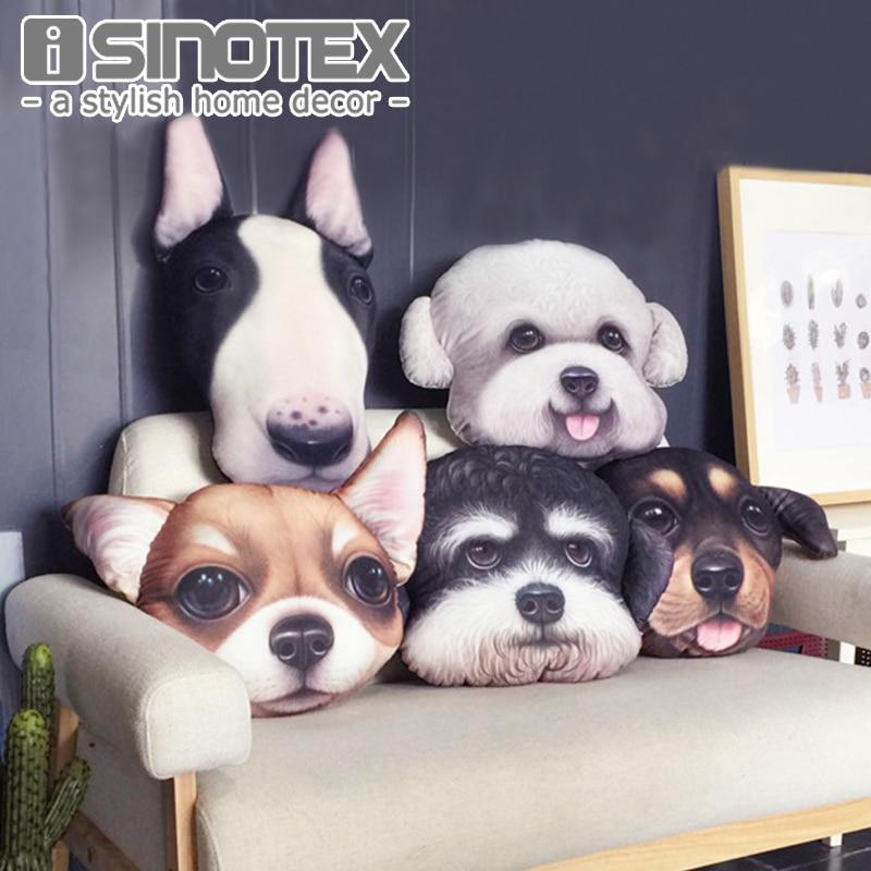 Cute Dog Cushion Cover Pillow Cases Pillowcase Teddy Chihuahua Bull Terrier Schnauzer Sausage 43X43cm Bedroom Sofa Home Decor