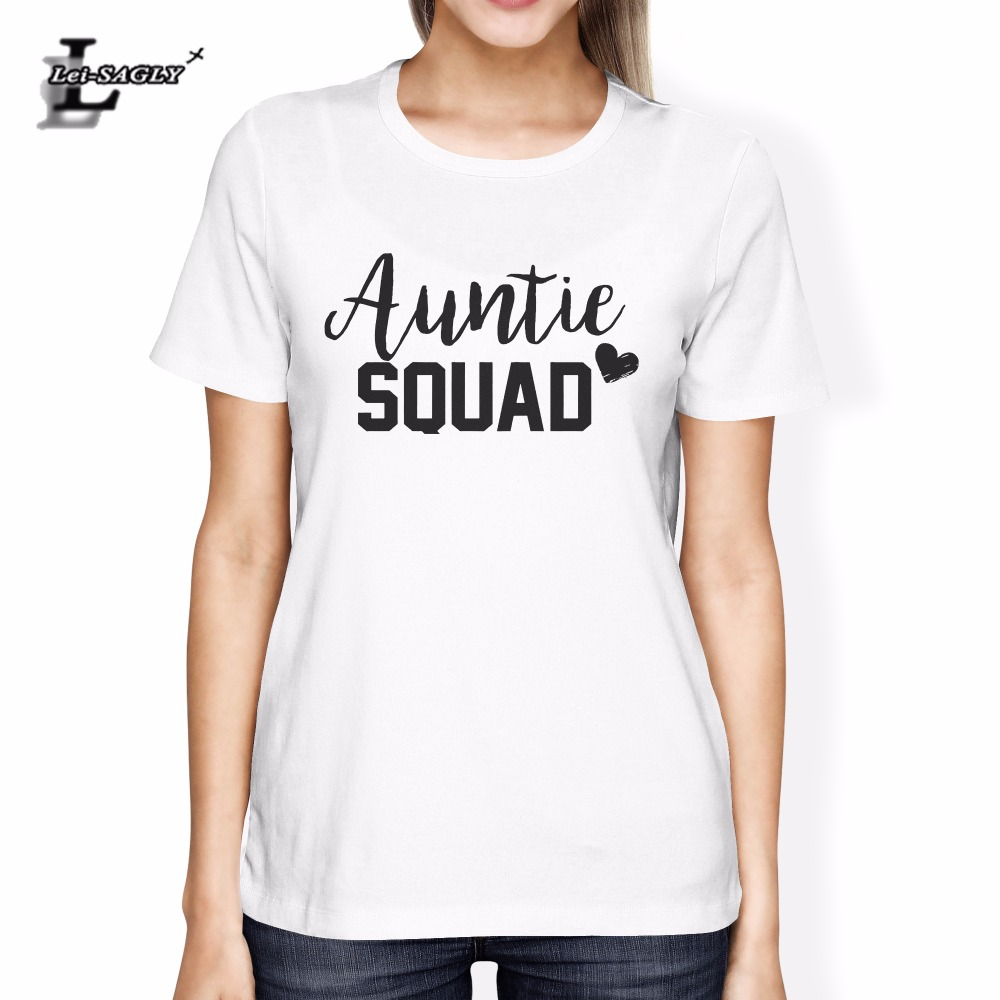 Lei-SAGLY Auntie Squad Letter Printed Tumblr Women Summer T-Shirt Lady Fashion Graphic Tops Tees Casual Cotton Breathable Tees