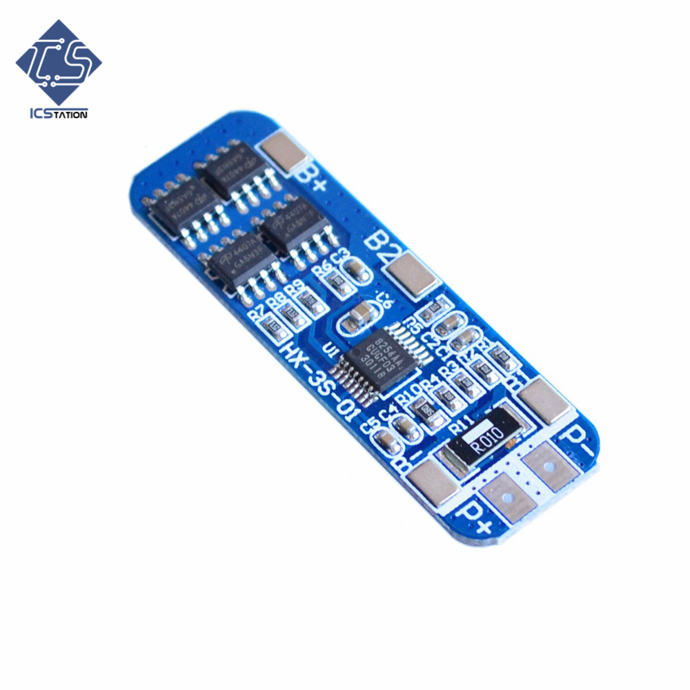 2PCS 12V 10A 3S Lithium Battery Protection Board Circuit Board Module for 3pcs 18650 Li-ion Lithium Battery Cell 50x21x1mm 4a 5a pcb bms protection board for 3 packs 18650 li ion lithium battery cell 3s 2pcs