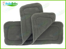 High Absorbent Organic Bamboo Charcoal Insert 4 Layers Diaper Liners for Babies 10pcs/set