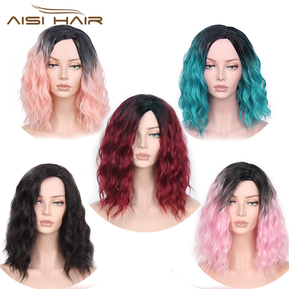 I's a wig Synthetic Ombre Red Blue Pink Wigs Short  Black Hair for  Women's  14