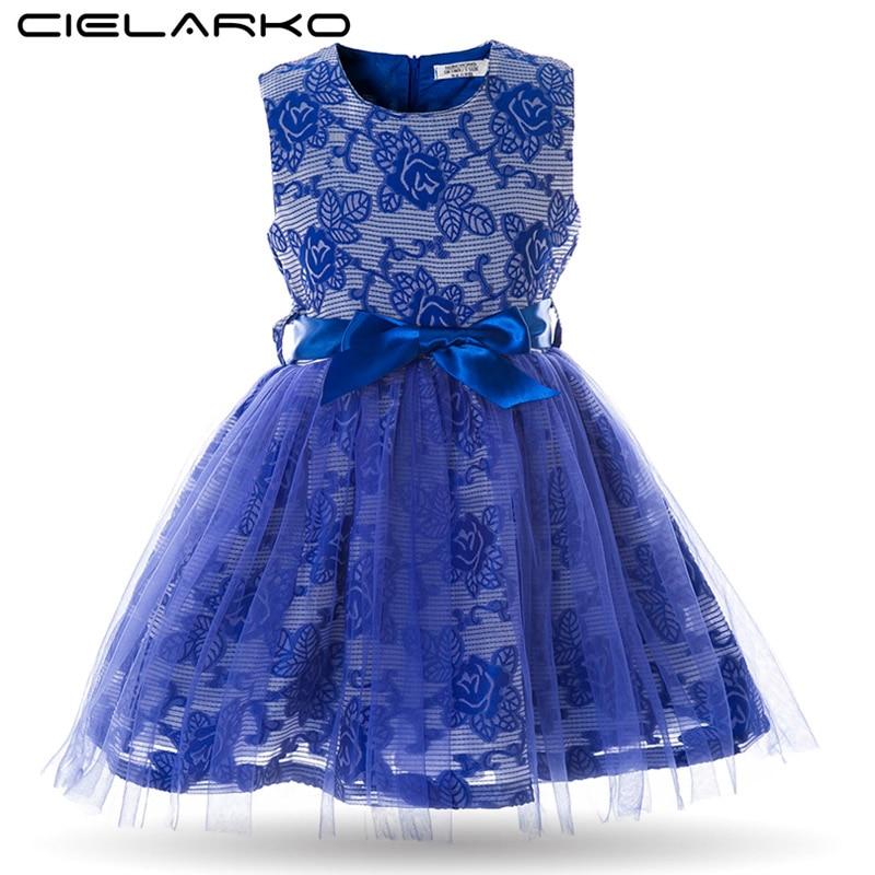 Cielarko Kids Girls Fancy Dress Baby Rose Embroidery Princess Dresses Children Evening Party Wedding Bodycon Prom Belt Dress  day dress