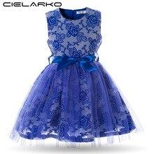 Cielarko Kids Girls Fancy Dress Baby Rose Embroidery Princess Dresses Children Evening Party Wedding Bodycon Prom Belt