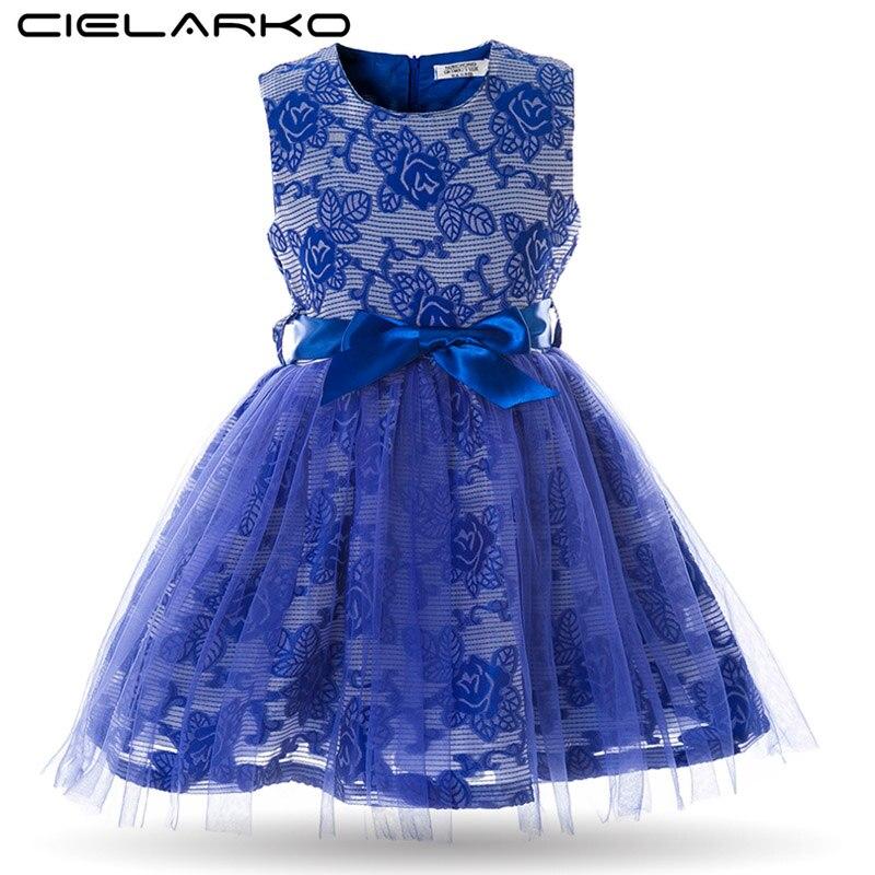 00623bb16 Cielarko niñas vestido rosa flor niños vestidos sin mangas malla princesa  niños boda vestidos fiesta ropa para niña