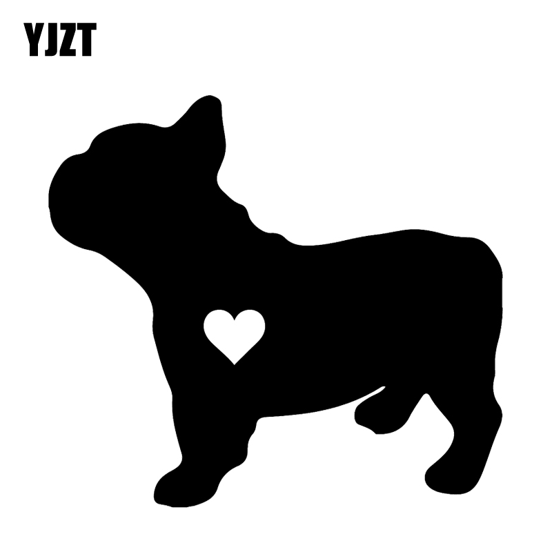 YJZT 14CM*12.7CM  French Bulldog Decals Decoration Vinyl Animal Car Sticker Black/Silver C2-3169 hot sale 1pc longhorn hilux 900mm graphic vinyl sticker for toyota hilux decals badges detailing sticker car styling accessories
