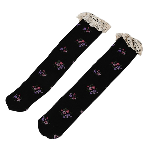 Hot Sale Baby Girls Teens Little Lace Flower High Socks Knee High In Tube Sock Pink-In Tights -6508