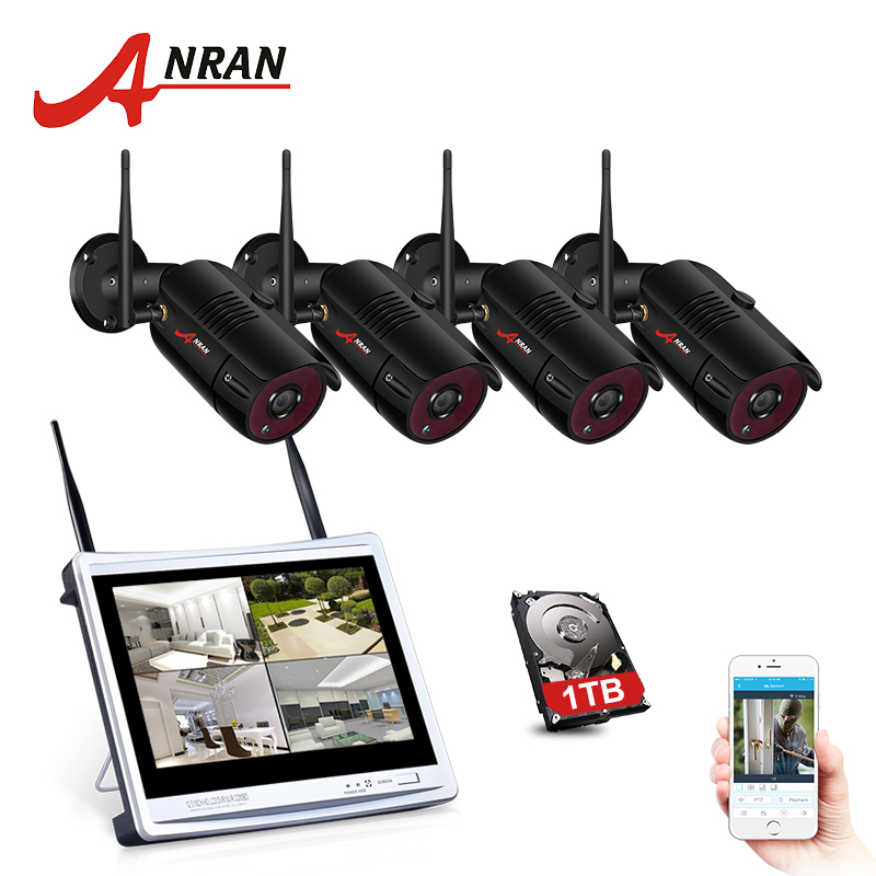 "Image 2 - ANRAN 4CH Wifi CCTV Camera System 12"" LCD NVR Kit 1080P HD Night Vision Surveillance IP Camera Outdoor Security Camera System-in Surveillance System from Security & Protection"