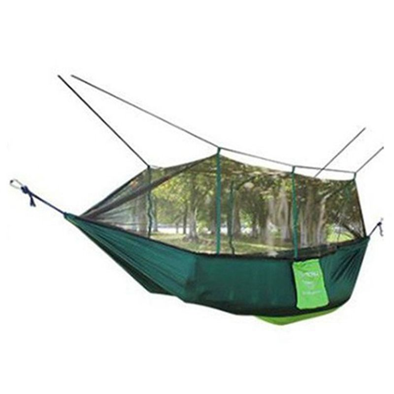 1-2 Person Portable Outdoor Hammock Camping Hanging Sleeping Bed With Mosquito Net Garden Swing Relaxing Parachute Hammock facecozy outdoor parachute with mosquito net hammock tent portable nylon hiking camping garden travel hunting hanging swing bed