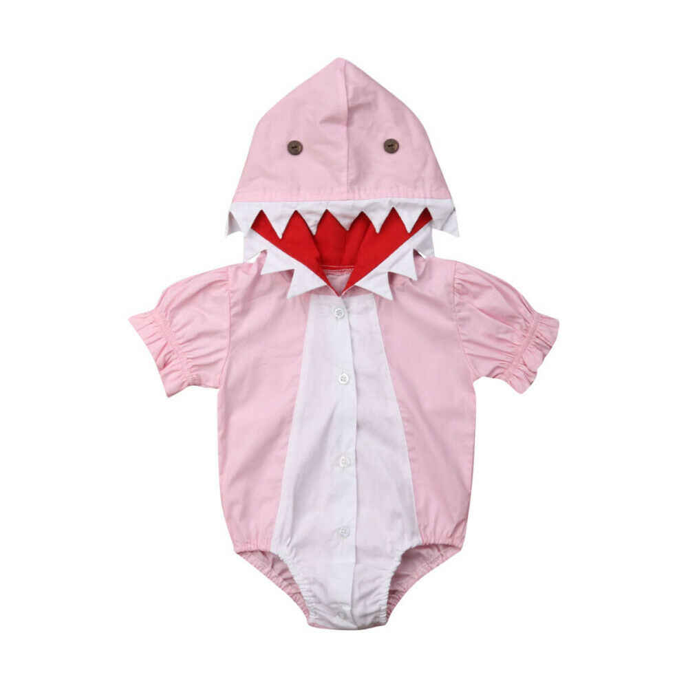 Baby Rompers Summer Girls Clothes Animal Pink Shark Hooded Romper Jumpsuit Outfits for Newborn Toddler Girl 0-24M