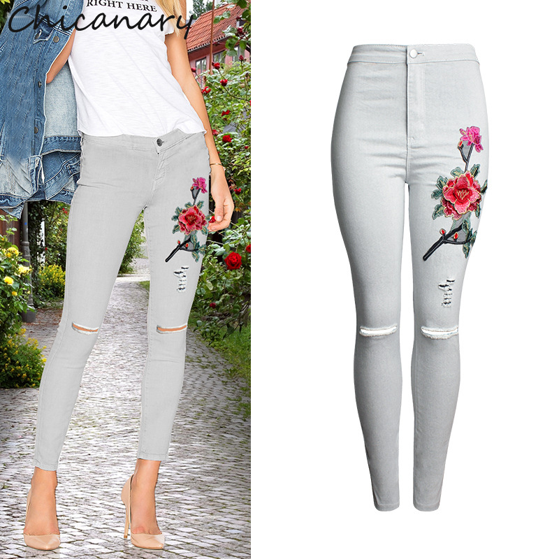 Chicanary Women High Waist Jeans 3D Embroidery Skinny Pants Jeans Knee Hole Female Pencil Pants Trousers