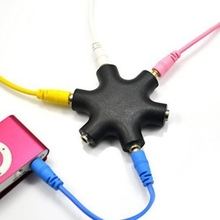 New  Earphone Audio Splitter 6 Way Port Multi Hub Colourful 3.5mm Adapter Hot Sales