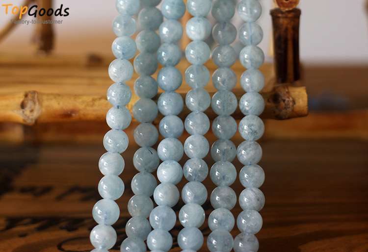 TopGoods Natural High Quality Blue Aquamarine Quartz Round Loose Beads for Jewelry Making DIY Bracelet 6 8 10mm pick size
