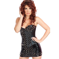 New Gothic Clothing 2 Pcs Women Black Faux Leather Corset Dress Overbust Sexy Wetlook Corpete Corselet With Mini Skirt Bustier