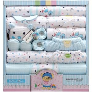 Image 2 - Комплект из 18 предметов для новорожденных, одежда для мальчиков, 100% хлопок, костюм для младенцев, одежда для маленьких девочек, наряды, штаны, детская одежда, шапка, нагрудник, одежда для малышей
