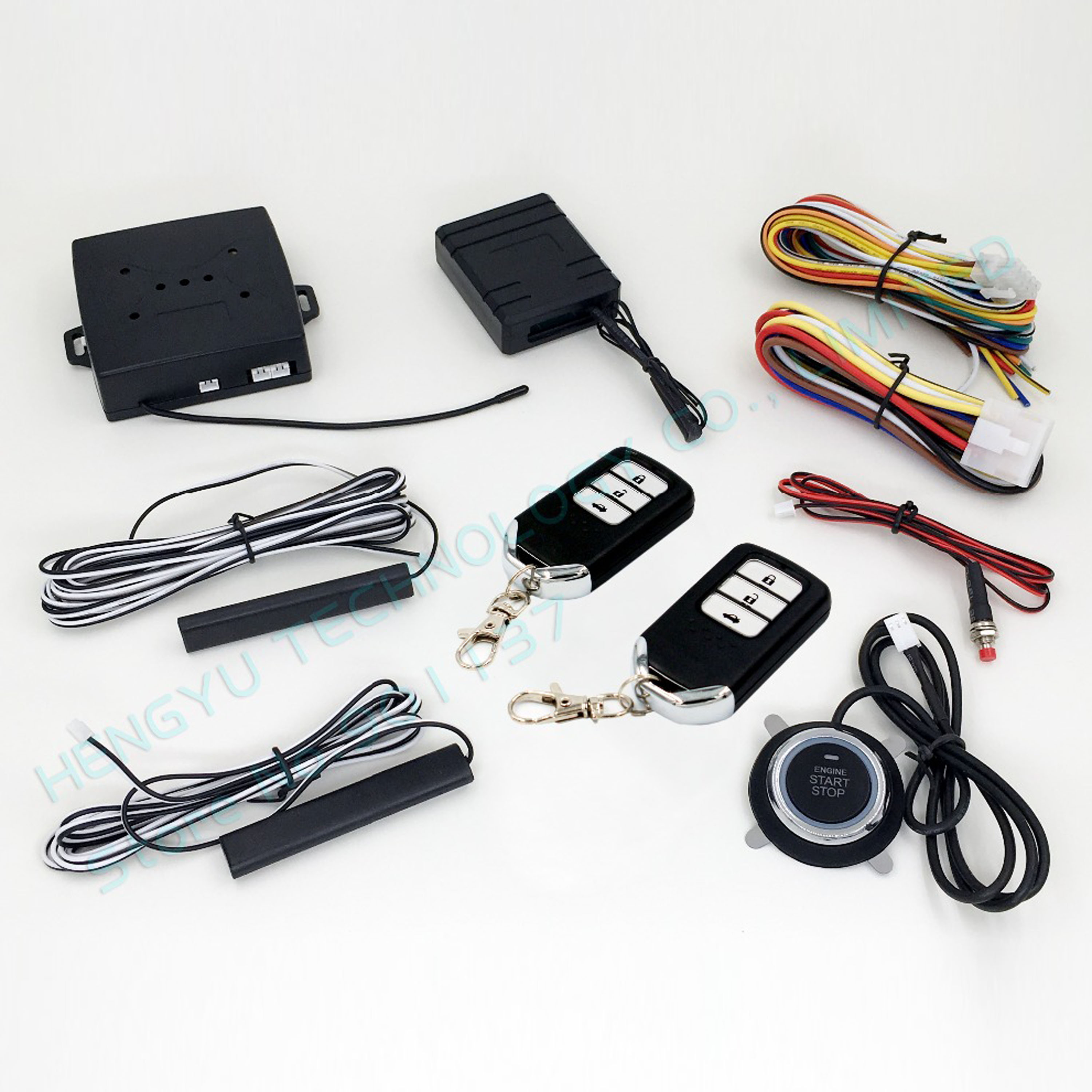 PKE car alarm system push button start stop button passive keyless entry remote engine start but